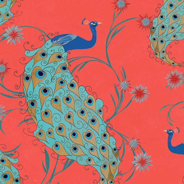Silkscarf peacock coral design